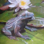 Frosch aus Bronze wasserspeiend